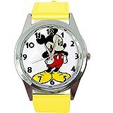 Reloj analógico de cuarzo con correa de piel auténtica de color amarillo redondo para fanático de Mickey Mouse de Taport