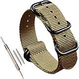 22 millimetri kaki militare orologio di nylon tessuto di sostituzione band di spessore per gli uomini