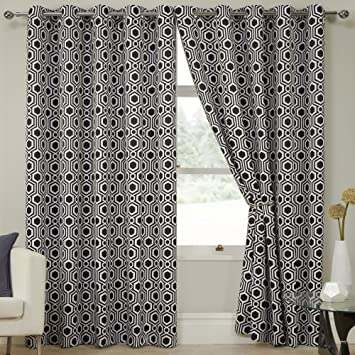 Geometric Kampala Black White Eyelet Ring Top Thermal Blackout Curtains  (46u0026quot; Wide X 72u0026quot