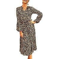 Eledobby Pullover da Donna Leopard Bohemian Holiday Style Scollo a V Vita Alta Slim Manica Lunga Lunghezza Media Abito a…