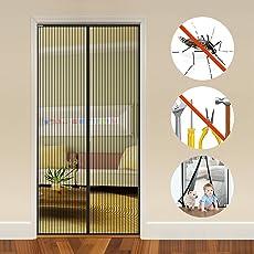 Auxent Magnet Fliegengitter Tür Insektenschutz Balkontür 90x210cm, Magnetvorhang für Terrassentür, Kellertür und Wohnzimmer, Kinderleichte Klebemontage Ohne Bohren (max. Türrahmenmaße 92x212cm)