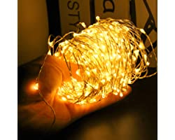 24HOCL 200 LEDs Starry Fairy Lights String Lights USB Powered, Bendable Copper Twinkle Lights with Brightness Dimmer for Bedr