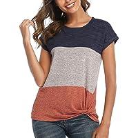 Yuson Girl Maglietta da Donna a Maniche Corte Maglietta Estiva Elegante Camicia Casual Color Block Kink Tunics con…