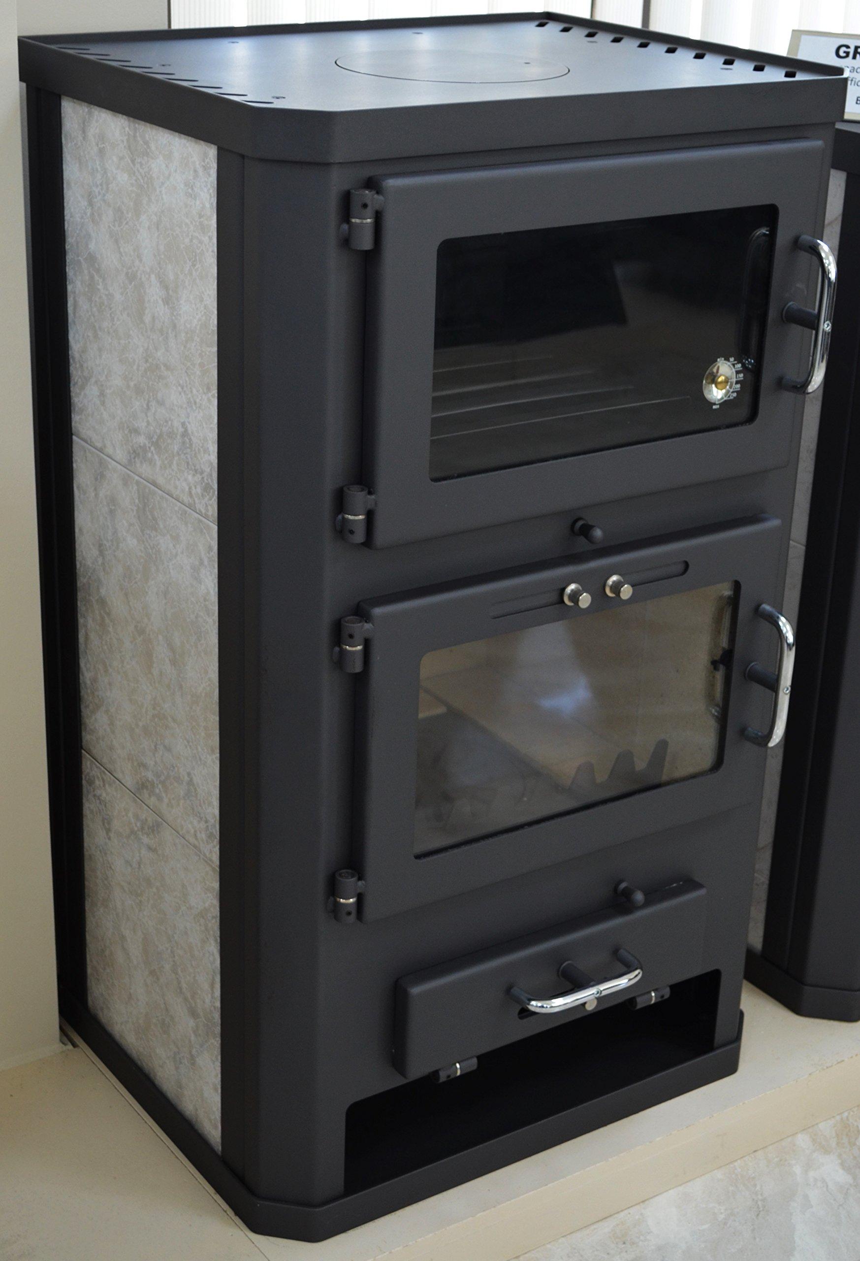 812nT3j9bVL - Estufa de leña para estufa, estufa, cocina, combustible, quemador de leña, 12/17 kW, BImSchV 2