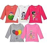 Kuchipoo Girls Cotton T-Shirt - Combo of 5, Multicolored (KUC-TSHRT-127)