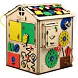 MONTESSORI Busy Board 19in1 / House with light / Educational Activity Sensory Cube Busy Board for toddlers / Wooden toy