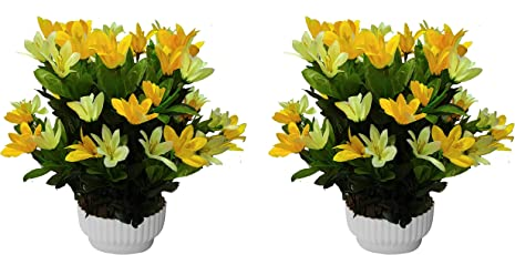 PG Creations Lily Artificial Flower with Plastic Pot