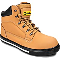 Black Hammer Mens Leather Safety Boots S1P SRC Steel Toe Cap Work Shoes Ankle Leather Brown 2007