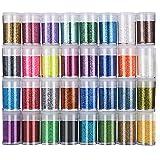 Paillettes Fines pour Art & Craft, 32 Couleurs Paillette Cosmétiques Glitter Fines pour Ongles Nail Art, Maquillage, Corps, C