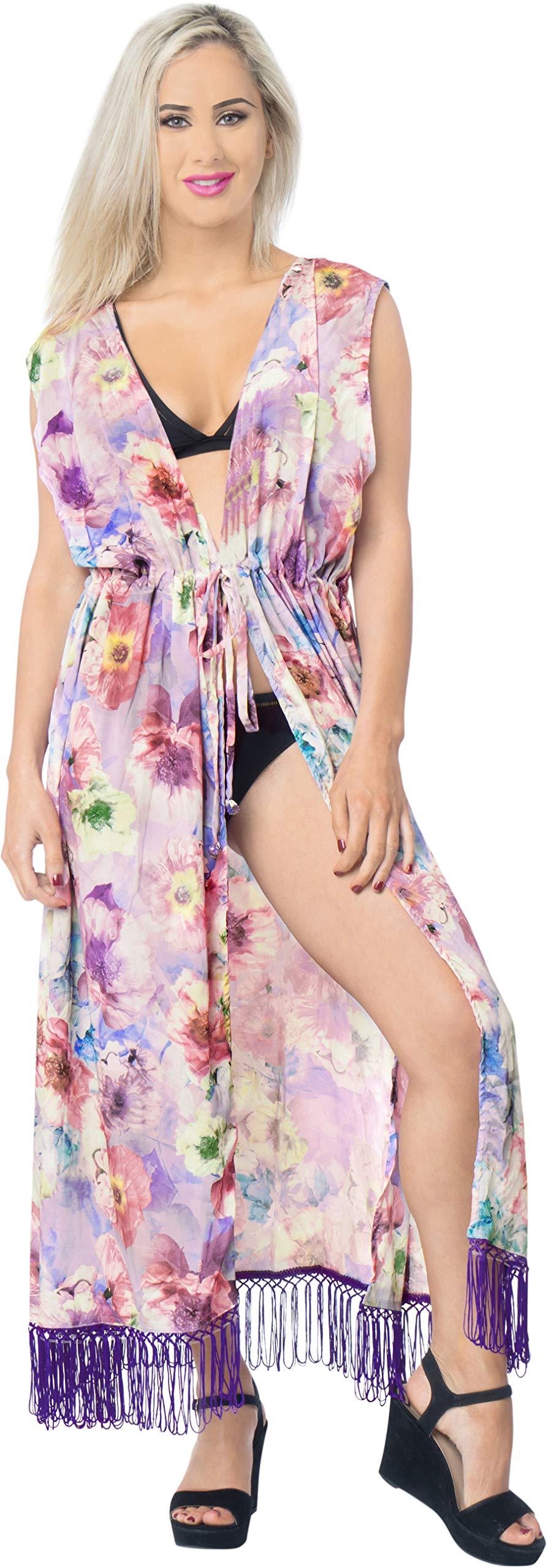 LA LEELA Seta Kimono Cardigan Lungo Donna Estivo Pizzo Boho Copricostume Abito da Mare Spiaggia per Costumi da Bagno… 5 spesavip