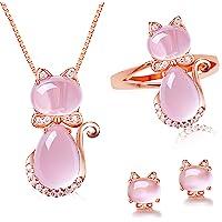 Uloveido Y427 - Set di gioielli da donna, orecchini a clip e collana con ciondolo a forma di gatto, colore: Rosa chiaro