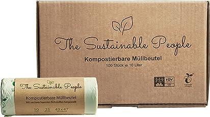 TSP Bio-Müllbeutel 10 Liter - 100 sichere, reissfeste Abfallsäcke - OK compost HOME zertifiziert -100% heim-kompostierbar und biologisch abbaubar - Abfallbeutel für Ihren Kompost & die Biotonne (100)