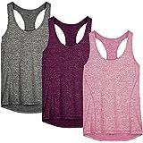 icyzone Débardeur de Sport Femme Dos Nageur Yoga Shirt sans Manches Running Fitness Tank Top, Lot de 3