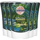 Sagrotan No-Touch Nachfüller Tropical Edition – Für den automatischen Seifenspender – 5 x 250 ml Handseife im praktischen Vor