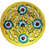 Shiv Kripa Blue Pottery Ceramic Decorative Wall Hanging Handmade Plate 17 x 17 x 3 cm (Yellow & Multi)