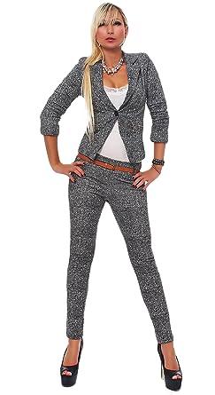 Damen hosenanzug grau