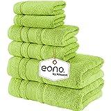 Eono by Amazon, Toallas de SPA y Hotel Juego de Toallas de 6 Piezas, 2 Toallas de baño, 2 Toallas de Mano y 2 toallitas(Verde