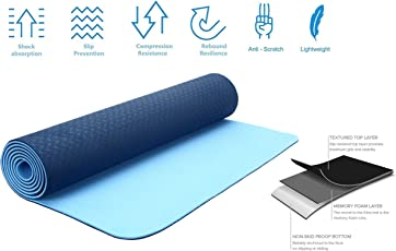 Strauss TPE Eco Friendly Dual Layer Yoga Mat, 6mm