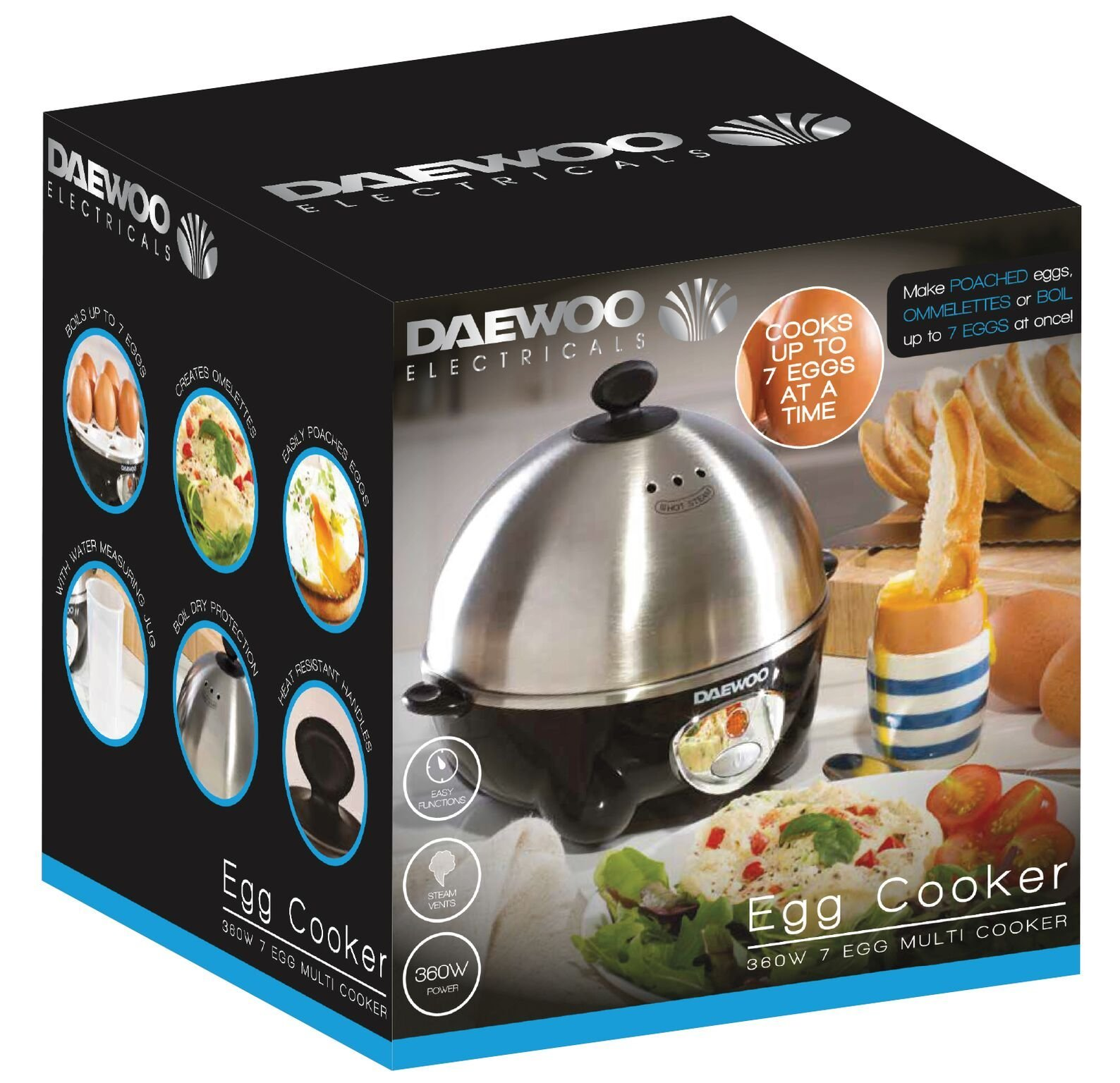 812s7IP62mL - Daewoo 360W Compact Egg & Omelette Cooker with Steam Vents, Boil Dry Protection, Heat-Resistant Handles - Silver/Black