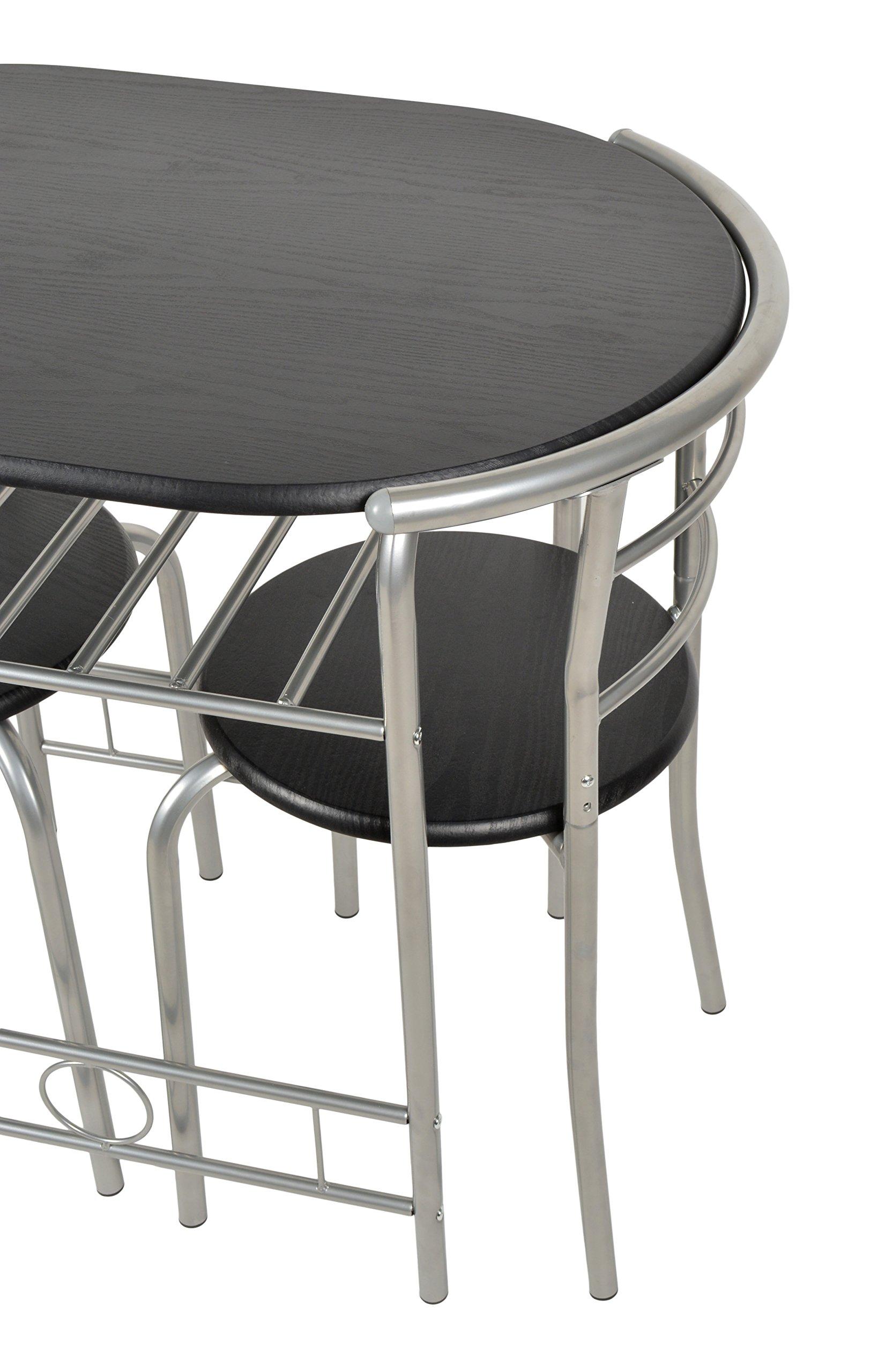 ts-ideen Set 3 Pezzi Tavolo con 2 sedie in Alluminio e MDF Color Nero per  Cucina o Sala da Pranzo