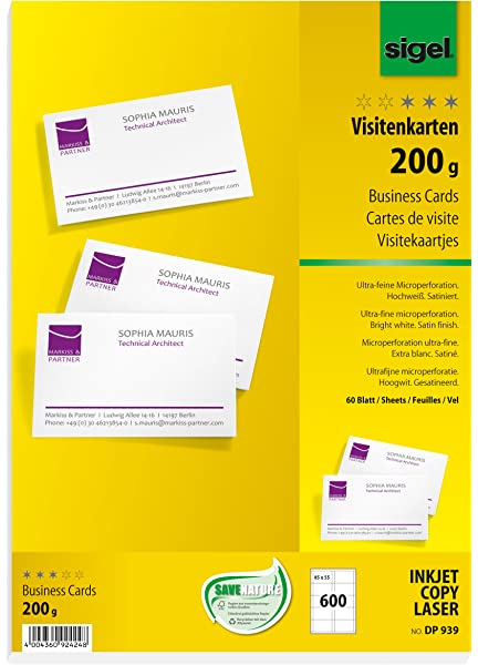 Sigel Dp939 600 Cartes De Visite Predecoupees 8 5 X 5 5 Cm 200g M Blanc Amazon Fr Fournitures De Bureau