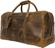 Leather Travel Duffel Bag - Airplane Underseat Carry On Bags By Rustic Town (Brown)