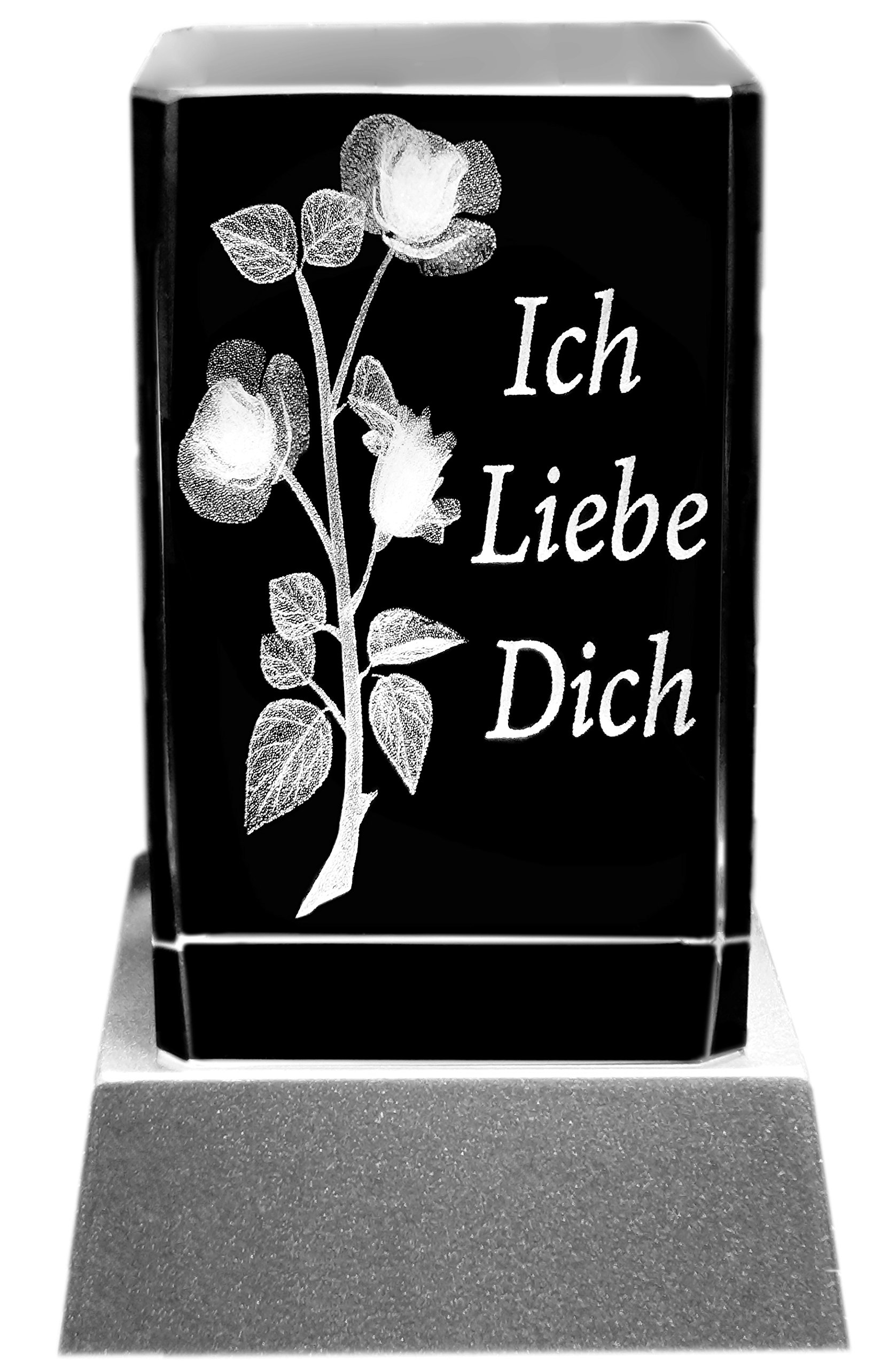 Kaltner Präsente Stimmungslicht - Ein ganz besonderes Geschenk: LED Kerze / Kristall Glasblock / 3D-Laser-Gravur Motiv…
