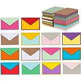 """140 ظرف صغير مع بطاقات ملاحظات فارغة، ألوان متنوعة 4 """"× 2.7"""" مظروف ملونة صغيرة لبطاقات شكر وبطاقات العمل وبطاقات الهدايا ومظا"""