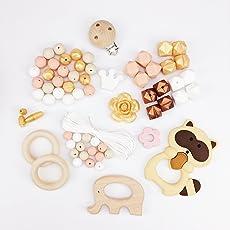 Mamimami Home DIY Baby Teether Spielzeug Krankenpflege Halskette Silikon Armband Sechskant Perlen Beissring Hölzern Schnuller-Clips