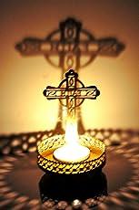 Hashcart Copper Shadow Cross Jesus Tea Light Candle Holder for Home Decor (BR-D-TL-CJ, Gold)