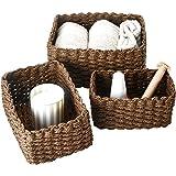 La Jolíe Muse Paniers de Rangement Chocolat en Papier Écologique Lot de 3 pour Chambre Décoration étagère Organisateur