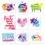 Set of 9 Watercolor Inspirational Wall Art Prints Abstract Paint Motivational Quote Phrases Posters for Living Room Office Cl