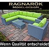 Ragnarök-Möbeldesign PolyRattan Lounge DEUTSCHE Marke - EIGNENE Produktion - 8 Jahre GARANTIE Garten Möbel incl. Glas und Polster (Platinum-grau) Gartenmöbel