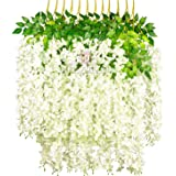 Improvhome 12 Pieces Wisteria Artificial Flower Bushy Silk Vine Ratta Hanging Garland Hanging for Wedding Party Garden Outdoo