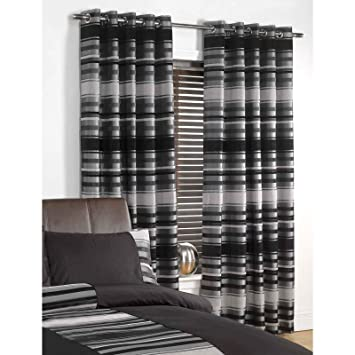 Just Contempo Striped Eyelet Lined Curtains, Black, 90x90 inches ...