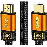 IBRA 2,1 HDMI-kabel 8K Ultra High Speed 48 Gbps | Stöder 8K@60HZ, 4K@120HZ, 4320p, Kompatibel med brand-TV, 3D-stöd, Ethernet