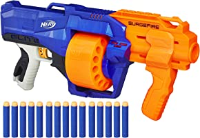 Nerf SurgeFire Elite Blaster -- 15-Dart Rotating Drum, Slam Fire, Includes 15 Official Nerf Elite Darts -- for Kids,...