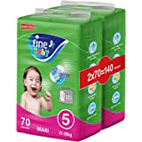 Fine Baby Fast Sorption, Size 5, Maxi, 11-18 kg, Two Mega Packs, 140 Diapers