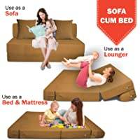 Aart Store Single Seater Folding Sofa Cum Bed - Perfect for Guests - Jute Fabric Washable Cover with Two Cushions - | 3' X 6' Feet, Golden