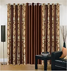 Exporthub 3 Piece Eyelet Brown Polyester Long Door Curtain EHSPR195