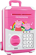 Toyshine Money Safe Kids Piggy Bank with Electronic Lock, Briefcase Model, Pink