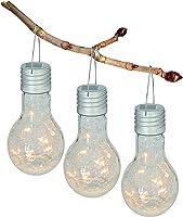 """Näve Leuchten 3er-Set Solarglas""""Glühbirne"""", Glas, 1 W, Grau, 9 x 9 x 17 cm, 3 Einheiten"""