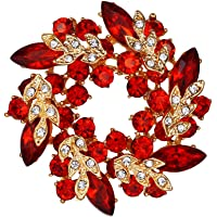 EVER FAITH Spilla Gioiello, Cristallo Austriaco Matrimonio Sposa Foglia Fiore Corona Spilla Pin Trasparente Argento…