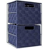 EHC Meuble de rangement à 2 tiroirs pour chambre à coucher ou salle de bain - Bleu marine