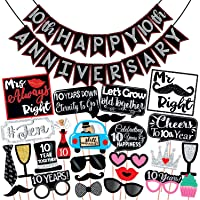 Wobbox 10th Anniversary Photo Booth Party Props DIY Kit with 10th Anniversary Bunting Banner, Red Gliter & Black…