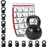 POWRX Kettlebell 4 – 30 kg Guss inkl. Workout   Kugelhantel Schwunghantel Rundgewicht aus Gusseisen