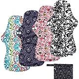 YueTech Lot de 4 serviettes hygiéniques lavables pour la nuit de 32,5 cm de long avec couche d'absorption au charbon de bambo