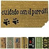 LucaHome - Felpudo de Coco Natural 70x40 con Base Antideslizante, Felpudo de Coco Divertido Cuidado con el Perro, Felpudo Abs