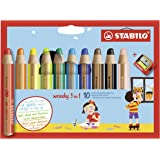 Multi-talented Pencil STABILO woody 3-in-1 Wallet of 10 Assorted Colours + Sharpener
