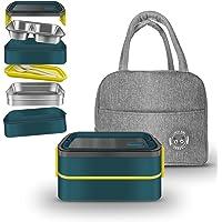 Lunch Box Boîte à Lunch étanche à Double Couche Bento Box Kids Boite Dejeuner Hermétique Sans BPA Sac Isolant Idéale…